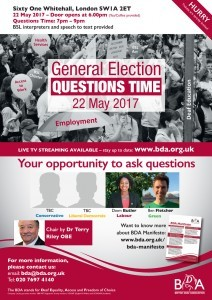 BDA General Election Question Time Poster for London - 2017