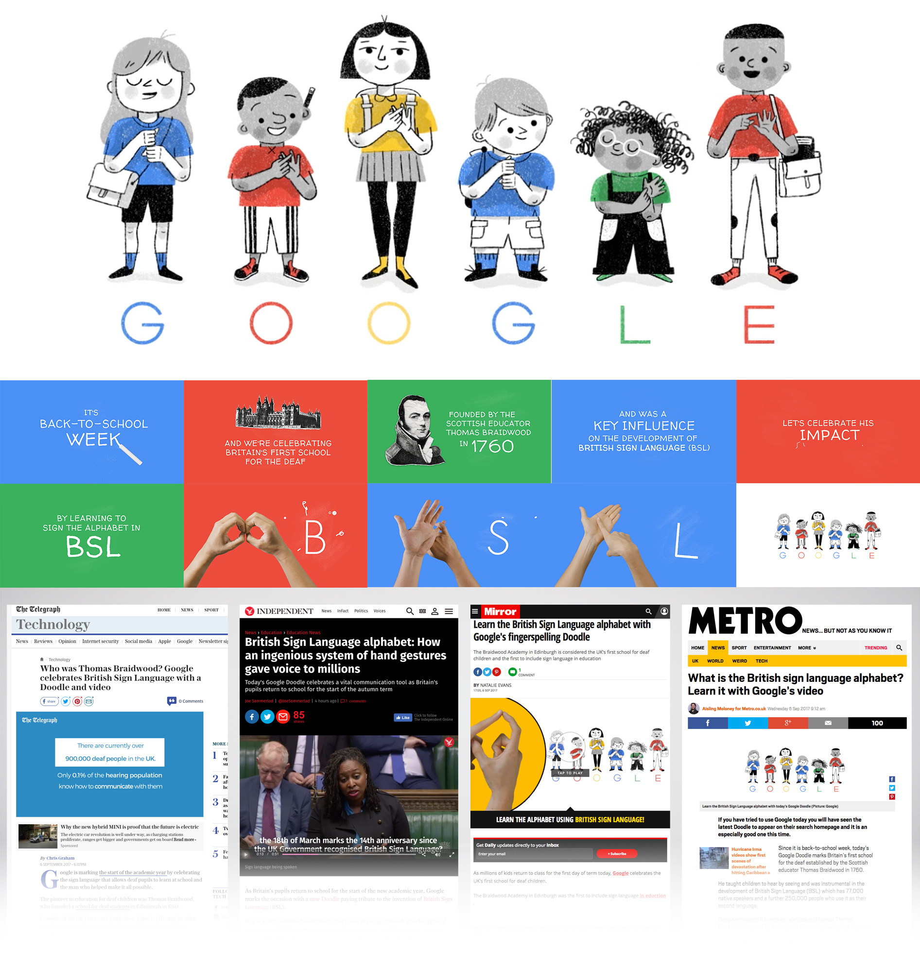 Google Doodle and video with news articles