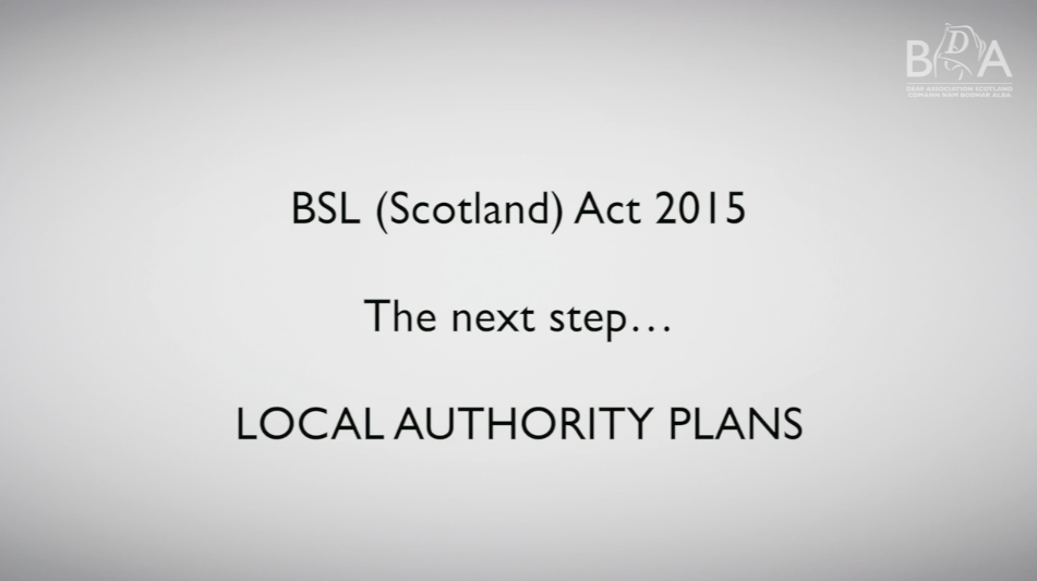 BSL (Scotland) Act 2015 - Local Authority Plans