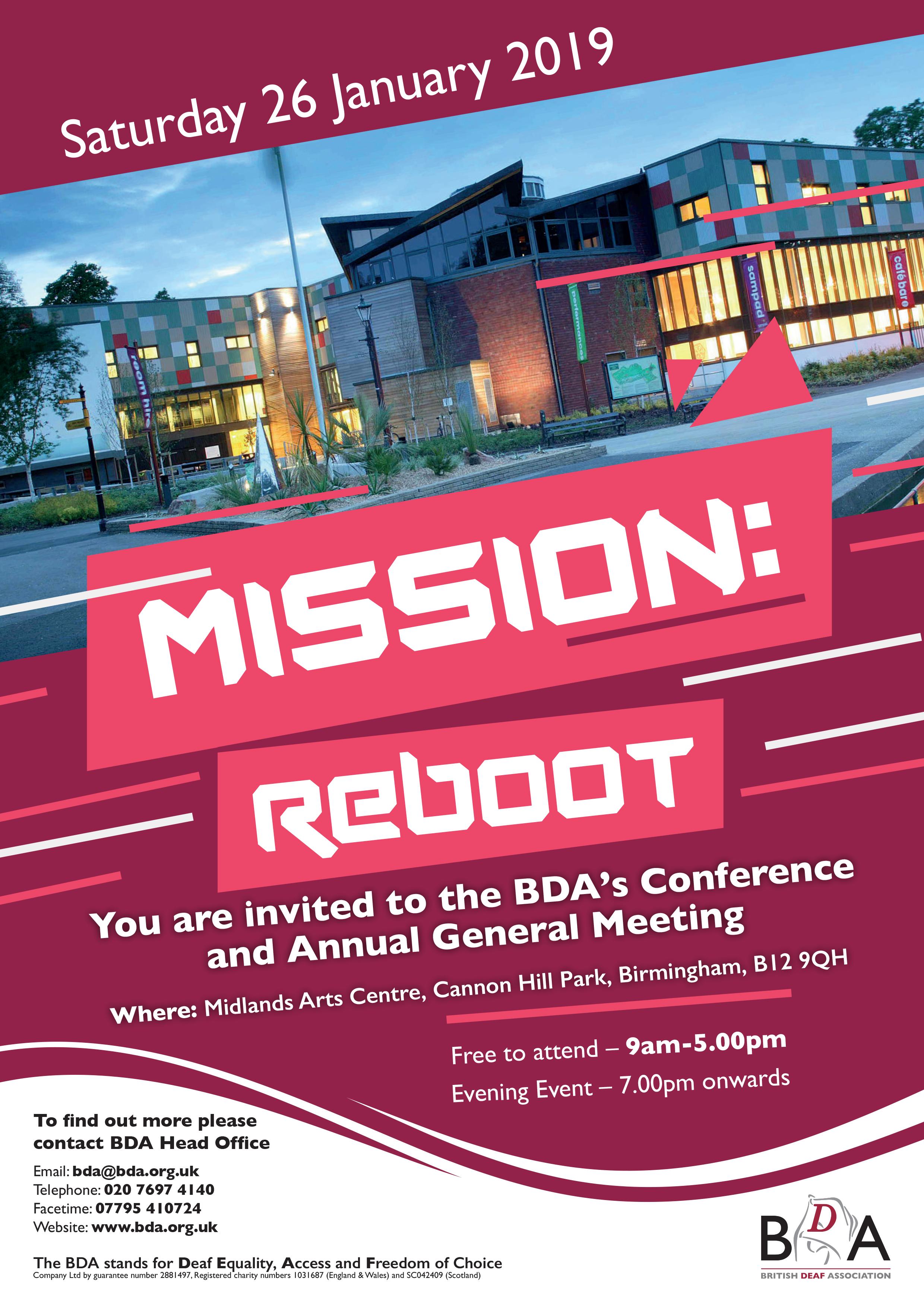 Mission: Reboot - BDA AGM 2019 - British Deaf Association