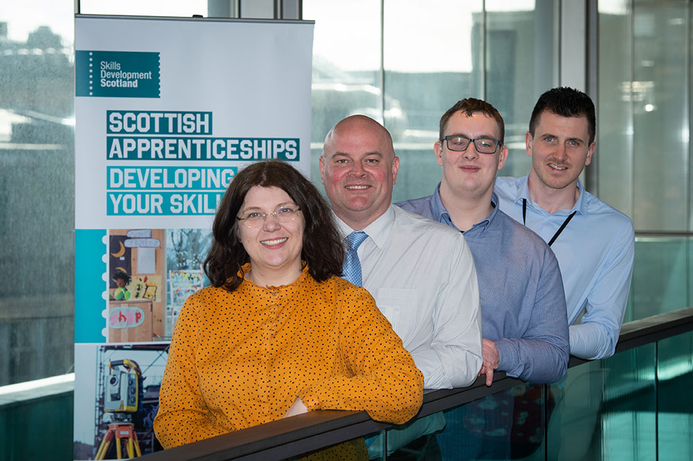 L- R - Skills Development Scotland's NTP Equalities Executive for the West region, Kirsteen Allison, ex-apprentice from BBC Scotland, Stewart Campbell, Employment Engagement Officer at training provider TIGERS, Colin Williams and Mitchell Graham, Transition Officer at the British Deaf Association Scotland