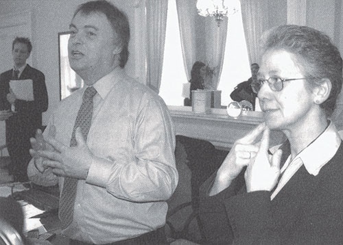 Andrew Smith MP making the announcement on BSL recognition, London, 18th March 2003